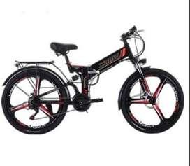 "3 Spokes eBike Sepeda Listrik MTB 26"" 21 Speed 48V 350W Al Alloy Lipat"
