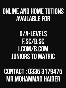 Online/Home tutor available