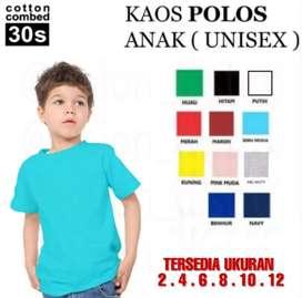 Baju Anak Polos / Kaos Anak Polos cotton combed Umur 2 s/d 12 tahun
