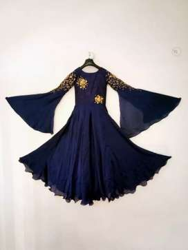 Girl designer embroidery gown