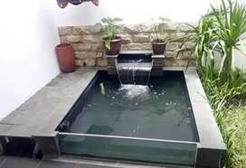 Pembuatan kolam air mancur