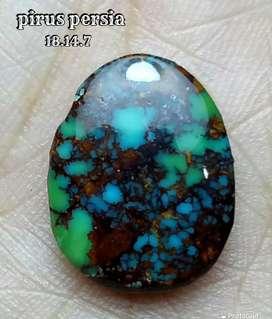 NATURAL BATU PIRUS PERSIA GRADASI BLUE GREEN URAT JALA