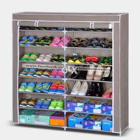 Portable double side shoe rack