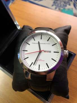 French Connection Leather Strap Classic Watch