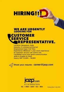 Customer service representative - jazp india