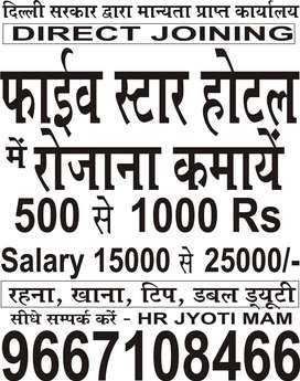REQUIREMENT OF WAITER JOBS IN FIVE STAR HOTEL