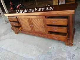 Bufet meja jati tv finishing furniture