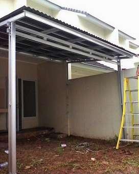 pasang rangka baja ringan atap kanopi dan baja berat truss mahesa