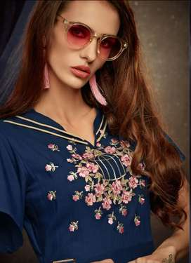 Rayon Embroidery Party Knee-Long Kurti