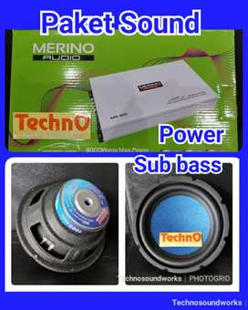 Paket Sound Merino Sub woofer bass + power 4ch for tv harga grosir