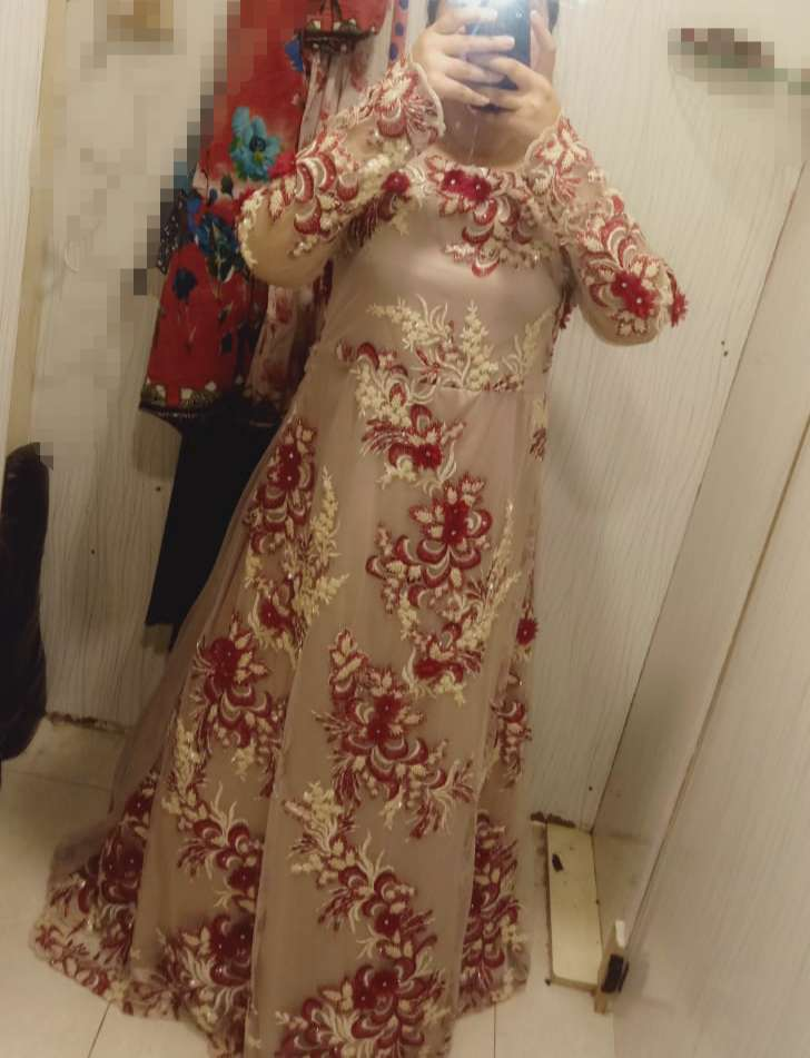 3d flowers overall embroidery long maxi with hard net .. 0