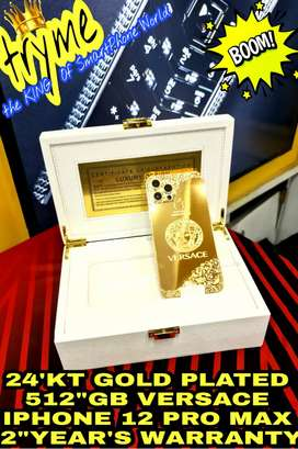 TRYME 24'KT Gold Plated 512GB VERSACE IPHONE 12 PRO MAX With 2Years