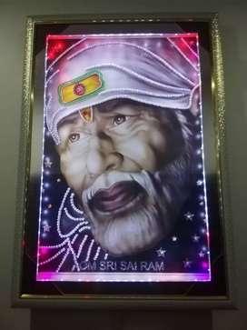 New Sai Baba multi color led light wall hanging. Big size.