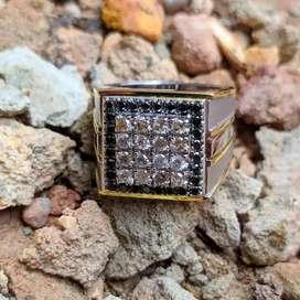 Cincin perak mata Full berlian Eropa ikat perak