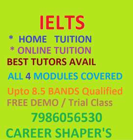 IELTS & SPOKEN ENGLISH -Home Tuition avail student's place,FREE Demo