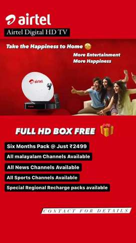 AIRTEL FULL HD DTH AVAILABLE WITH 6 MONTHS FREE OFFER
