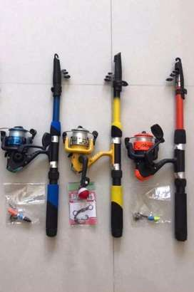 Set Joran pancing P 150cm + reel,senar,timah,kail,stoper,pelampung