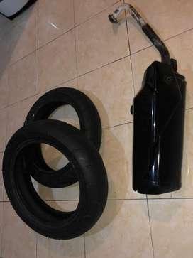 Dijual knalpot ninja 250 fi ori untuk nmax + ban ori nmax masih tebal