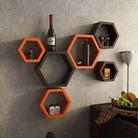 Wall shelf set of 6 (Hexagon)(orange and brown)
