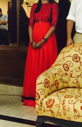 Red full length Gown with black beed work