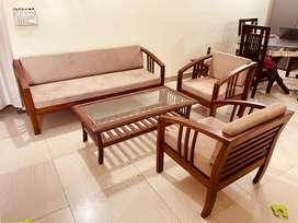 3+1+1 teak wood sofa set with centre table