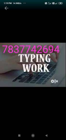 Data entry data typing work type from PDF or JPEG
