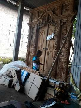 Cuci gudang pintu gebyok ukir ukuran 200 x 250 cm kayu jati asli arif
