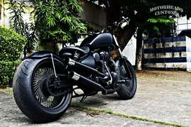 Customized Royal Enfield Classic/thunderbird with 240mm rear tyre set