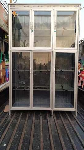 Rak piring 3 pintu kaca riben batang jumbo