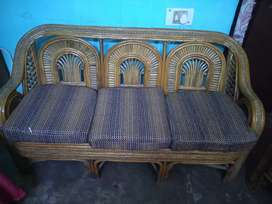 Wooden sofa with table 5 seater with cusion seat.urgent sale