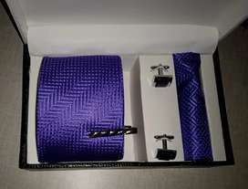 Men Premium Neck Tie and Pocket Square with Cufflink Combo Gift Set