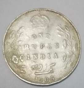Old silver coin antique piece 1905