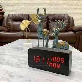 Jam Meja Rumah Digital LED Weker Digital Wood Alarm Clock 862 BlackRed