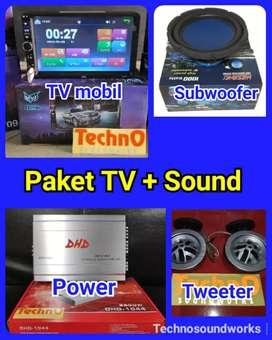 Paket sound komplit + tv mobil double 2 din harga grosir bs jual lagi