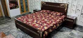 Double King Size Bedset With 2 Side Tables Drasing and Mirror