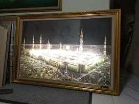 kaligrafi 1,5 mtr x 1mtr 30juzz murotal alquran Ka'bah/Madinah