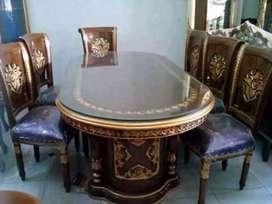 Meja makan jati kursi jok