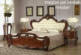 Tempat tidur mewah model eropa, bahan kayu jati tua terbaik