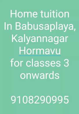 Home Tuition in Babusaplaya, Kalyannagar, Hormavu