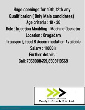 10th,12th Openings - Male candidates