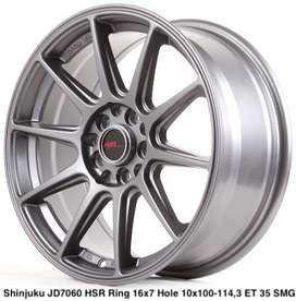 jual velg,SHINJUKU JD7060 HSR R16X7 H10X100-114,3 ET35 SMG