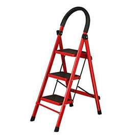 3 Steps Folding Aluminum Step Ladder with Long Handrail Rubber Feet