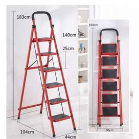 6 Step Folding Ladder Red
