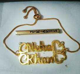 Gold plated locket and braslet with your name in just 1000/1500