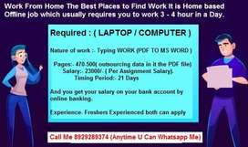 Half Time Work At Home (Data Entry -- E- Book Typing) Available.