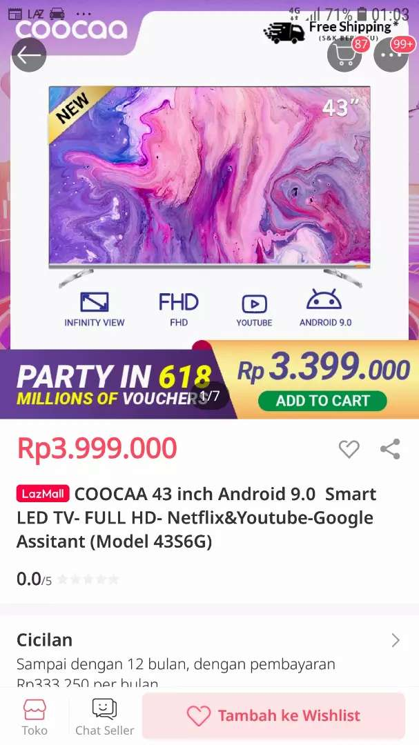ANDROID SMART LED TV COOCAA 43INCH FULL HD-NETFLIX-YOUTUBE-MODEL:43S6G 0