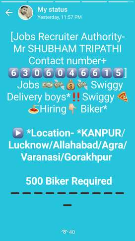 Swiggy urgently required 2000 bikers in all over up.