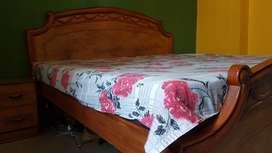 Durable King  size bed of  teak  wood frame 02 side table