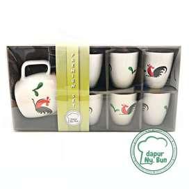 Set Teko Kecil & 6 Gelas Ayam Jago Seri 2 / Hampers/Gift/Paket Lebaran