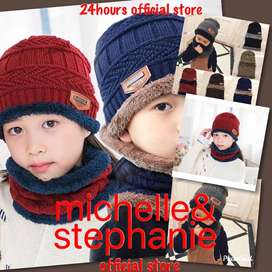 M&S ICTK24-Lovely Kids Boys Girls Winter Autumn Warm Knitted Hat+Scarf